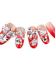 24+4PCS Red Rhinestone Glitter Wedding Nail Art Tips With Free Gift