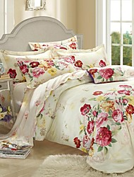 H&C ®  Thicken Cotton Sanded Fabric Duvet Cover Set  4 Pieces Flower Pattern Red Cream Multi-Color