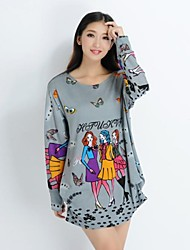 XinYuanGe® Women's Round Collar Print Cotton Big Size Long Sleeve Tops T-shirts