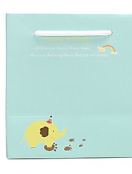 Coway 14.5*13.5*9 Blue and Yellow Elephant Party Paper Gift Bag Vertical Version