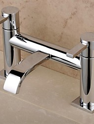 Contemporary Roman Tub Waterfall with  Brass Valve Two Handles Two Holes for  Chrome , Bathtub Faucet