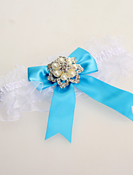 Garter Lace Bowknot Imitation Pearl Blue