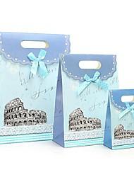 Coway 3pcs azuis castelo colagem sacos de moda festa fresco saco de presente de papel conjunto