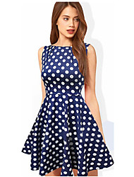 Melos Women's Round Neck Ball Gown Polka Dots Dress