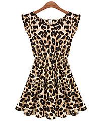 todo vestido sleevless partido leopardo E.9 de las mujeres