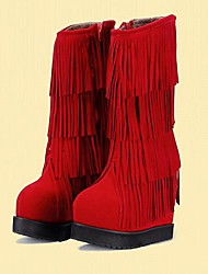 Women's Spring / Fall / Winter Fashion Boots / Round Toe Faux Fur Dress / Party & Evening Wedge Heel Tassel Black / Red