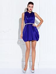 Cocktail Party / Prom Dress - Regency Plus Sizes / Petite A-line High Neck Short/Mini Satin