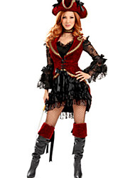 Royal Pirata Deluxe Rojo y Negro Poliéster de disfraces de Halloween de la Mujer