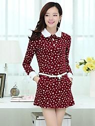 Women's Sweet Doll Collar Long Sleeve Cotton Dress Give Belt