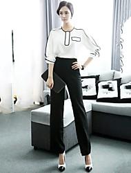 contrasto di colore vestito a due pezzi di lavoro ol-stile incern®women (tops& pantaloni)