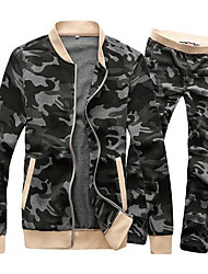 Men's Stand Collar Fashion Joker Camouflage Activewear(Jacke & Pants)