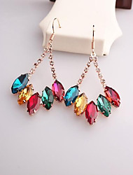 Drop Earrings Crystal Gemstone & Crystal Rose Gold Plated Alloy Rainbow Jewelry 2pcs
