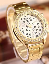 Damen Quartz Edelstahl Band Leopard Gold Marke-