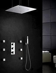 Contemporary Wall Mounted Thermostatic / Rain Shower / Widespread / Handshower Included with  Brass Valve Three Handles Five Holes for