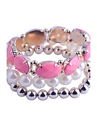 Lureme®Pearl/Oval Resin/Beads Bracelet Suit(Assorted Color)