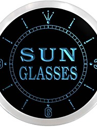 Sun Glasses Shop Display Decor Neon Sign LED Wall Clock