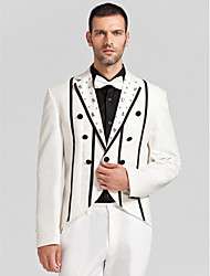 Black&White Polyester Tailored Fit Two-Piece Tuxedo
