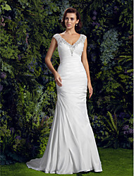 Mermaid / Trumpet V-neck Court Train Charmeuse Wedding Dress with Beading Appliques Button by LAN TING BRIDE®