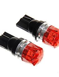 t10 1.5w 100lm épi rouge lampes led instrument de voiture (DC12V, x2)