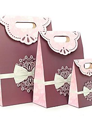 Coway 3Pcs Purple Version of The Cross Bow Gluing Simple Fashion Bag Party Paper Gift Bag  Set