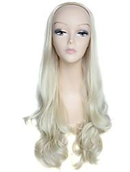 half pruik blonde 28inch lange hoge kwaliteit grote golf vrouwelijke elegante mode synthetische celebrity pruik