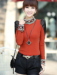 Chaoliu New Korean Lace Thickening Plus Velvet Grenadine Long Sleeve Puff Sleeve Bottoming Shirt