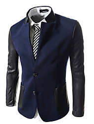 George Men's Foreign Trade Wholesale Korean Slim Stand Collar Leather Sleeve Suit
