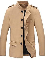 Men's Long Sleeve Regular Jacket/Coat/Down & Parka , Cotton Blend/Tweed Pure