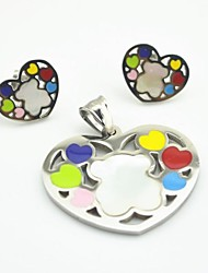 Toonykelly® Fashionable Silver Bear Love Heart Stainless Steel(Pendent with Earring)Jewelry Set