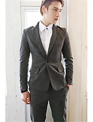 Men's Solid Formal Set,Polyester Long Sleeve Black / Gray