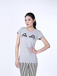 Damen Druck Einfach Lässig/Alltäglich T-shirt Sommer Kurzarm Grau Baumwolle Undurchsichtig