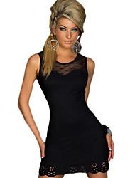 Darling Clothes Women's Black Sexy Lace Hem Fit Short Dress