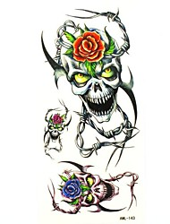 Waterproof Beauty Skull Temporary Tattoo Sticker Tattoos Sample Mold for Body Art(18.5cm*8.5cm)