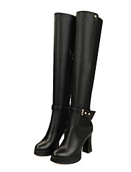 Women's Shoes Fashion Chunky Heel Leather Knee High Boots with Buckle
