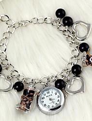 Damen Armband-Uhr Quartz Legierung Band Heart Shape Perlen Schwarz Marke
