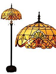 Luminária de chão barroco 110-120V com vitrais e contas de vidro