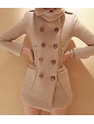 Lavender Women's Casual Slim Fit Wool Coat