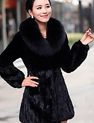 Women's The Korean Version Of Fox Fur Coat In Imitation Of Stitching Slim long Imitation Fur Coat