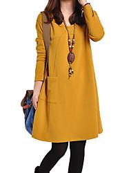 V шеи сплошной цвет Гиги женская свободная посадка A-Line платье