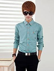 Men's Print / Solid Casual / Work / Formal Shirt Long Sleeve