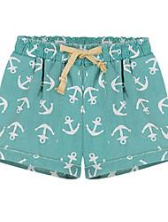 Women's Green/Gray Shorts Pants , Beach/Casual/Cute