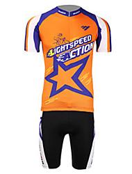 nouvelle action de vitesse anti-uv respirant lycra de polyester court maillot de cyclisme manches de lune hommes - orange + bleu