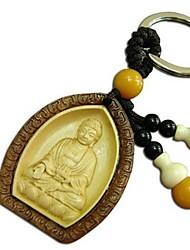 Duo Ji Mi ®Rosewood Inlay Boxwood Amitabha Buddha Wooden Keychain