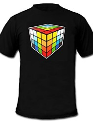Mens Light Up LED T-shirt rubik's cube pattern Sound and Music Activated Equalizer for Party Bar Raver
