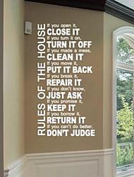 jiubai ™ pared etiqueta de la pared cotización regla de la casa calcomanía