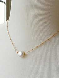 Women's European Fashion Imitation Pearl Alloy Skinny Pendant Necklace (1 Pc)