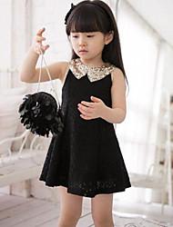 Girls Lapel Lace Dress