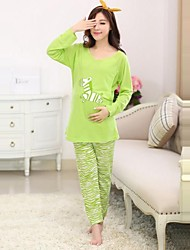 Maternity's Fashion Candy Color Breastfeeding Pajamas Clothing Set