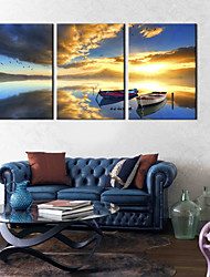 Stretched Canvas Art Evening Docked The Ship Set of 3