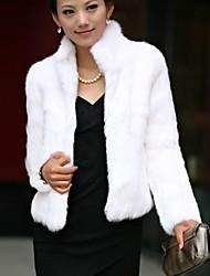 Fur Coat Women's Long Sleeve Standing Faux Fur Party Casual Coat(More Colors)